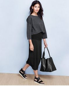 Eileen Fisher Cozy Viscose Stretch Lantern Skirt