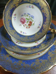 AYNSLEY FANCY DORIS TEA CUP AND SAUCER TRIO NAVY MOTTLED BAND H.P. FLORAL ~GOLD