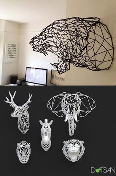 Animal Heads: Wireframe Wildlife - Printer Pen - Ideas of Printer Pen - Animal Heads: Wireframe Wildlife 3d Printing Diy, 3d Printing Service, 3d Printer Designs, 3d Printer Projects, Impression 3d, Wireframe, Stylo 3d, 3d Printed Objects, 3d Printed Art