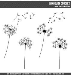 Dandelion Doodles Digital Stamps Clipart Clip Art Illustrations - instant download - limited commercial use ok $3.50