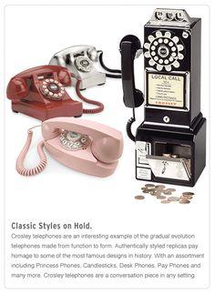 Crosley retro phones, turntables