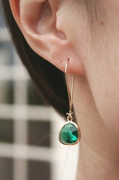 Emerald Green Earrings in Gold. Green Earrings. by BellaJewelsInc