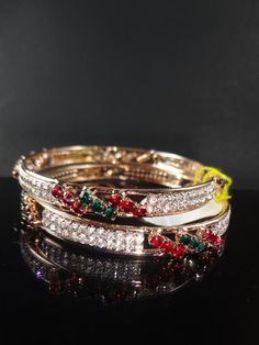 Indian Bollywood Bridal New Fashion Jewelry CZ Bangle Gold Plated 2.6 2pc Set #Tanisha #Bangle