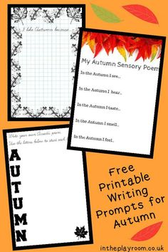 Free Printable Autumn Writing Prompts packs, including poem templates for acrostic and sensory poems, bordered writing pages, and writing prompts