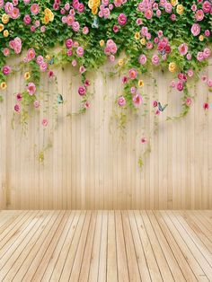 Kate Wedding Photography Backdrops,Wedding Wood Wall Colorful Flowers Backdrop For Photographers,No Winkle Seamless Collapsible Photo Studio Backgrounds