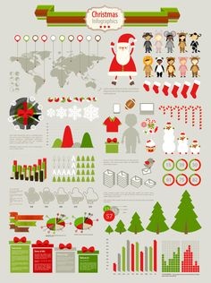 Christmas vector infographic elements #freebie #christmas