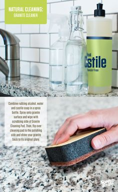 A natural way to get all your granite surfaces looking like new again. Find a printable version of this natural cleaning tip here.