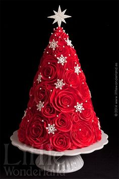 Lovely red and white Christmas cake