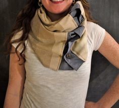 Infinity Button Scarf  Cream/Rust/Blue by Stitch803 on Etsy, $35.00