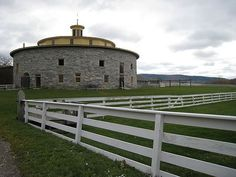 The historic round barn at Hancock Shaker Village in the Berkshires of Western Massachusetts. Nathaniel Hawthorne and Herman Melville once ran a footrace around it.