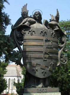 Statue of Košice coat of arms, Slovakia Europe Destinations, Central Europe, Serbian, Eastern Europe, Coat Of Arms, Czech Republic, Hungary, Austria, Poland