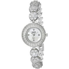 Burgi  Round White Mother of Pearl Dial Three Hand Quartz Movement... ($103) ❤ liked on Polyvore featuring jewelry, watches, burgi watches, diamond jewelry, diamond bezel watches, white wrist watch and swarovski crystal jewelry