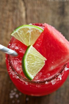 Frozen Watermelon Margaritas | FamilyFreshCooking.com | MarlaMeridith.com