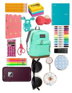 """What's in my backpack"" by gwils on Polyvore featuring Lilly Pulitzer, Monki, Eos, Miss Selfridge, JanSport and LifeProof"