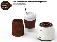 The Eco Sleeve Maker Turns Used Grounds Into a Coffee Cup Sleeve #coffee trendhunter.com