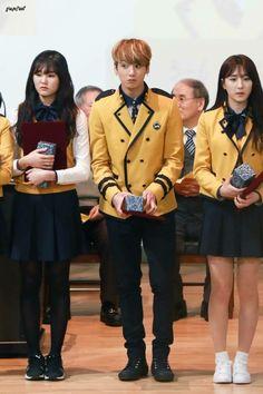 Lol kookie >> shook, as per usual I think it's cause he's next to girls. My poor kookie. Soo innocent
