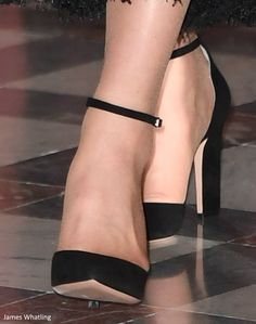 """Kate debuted a new pair of black pumps by  Gianvito Rossi as she attended a reception at the British Embassy on March 17, 2017 in Paris, France. The $800 pumps are described: """"These Gianvito Rossi pumps demonstrate traditional Italian craftsmanship and designs in a d'Orsay silhouette. Softly structured from black suede, this pointed-toe pair is finished with a buckle ankle strap for a slender sculpt."""