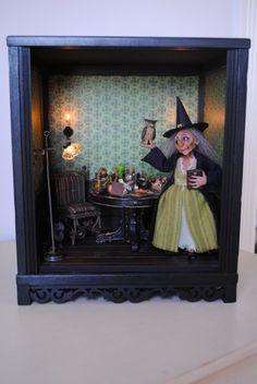 Black RoomBox  1:12 Scale by dollhousesbyliz on Etsy