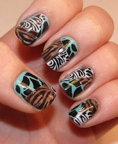 Polish Art Addiction:  great animal print scotch tape mani