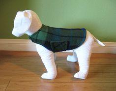 Fleece Dog Coat & Jacket, Extra Small or Medium, Royal Blue, Green, and Black Plaid with Green Fleece Lining  www.TheThimbleAndHound.com