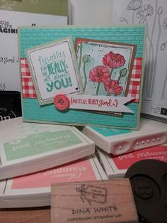 Really Good Greetings  Pleasant Poppies Gingham wheel  2013 2015 In Colors Stampin Up!