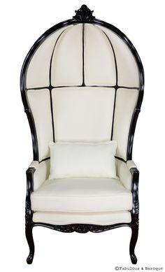 Victoire Balloon Chair  Ornate Modern Baroque & Rococo Furniture  . Black & white glam ♥