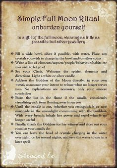 Simple Full Moon Ritual – Unburden Yourself – Witches Of The Craft® - Bluemedia Witch Spell Book, Witchcraft Spell Books, Magick Spells, Wicca Witchcraft, Hoodoo Spells, Luck Spells, Occult Books, Healing Spells, Candle Spells