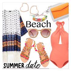 """summerdate beach"" by ainzme ❤ liked on Polyvore featuring Lilliput & Felix, Elina Linardaki, Christian Dior, Luis Miguel Howard, Venessa Arizaga, beach and summerdate"