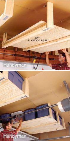 Overhead Garage Storage, Diy Garage Storage, Outdoor Storage, Garage Ceiling Storage, Garage Organisation, Organization Ideas, Storage Ideas, Storage Solutions, Organized Garage