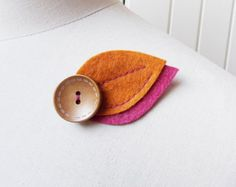Felt Leaf Brooch Orange and Pink Hand Cut and Hand Sewn Autumn Accessory with Wooden Button