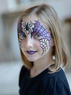 Halloween kids' face paint tutorial: Spider web