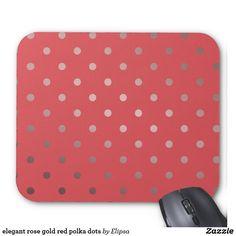 elegant rose gold red polka dots mouse pad