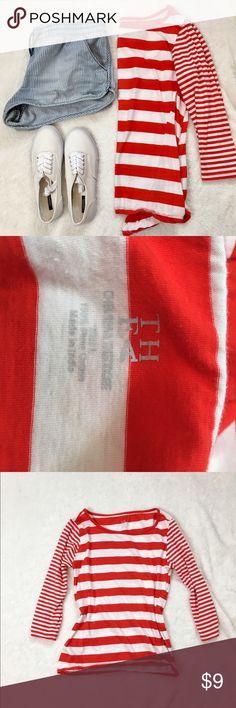 Nautical red & white stripe Pima cotton top Nautical red & white stripe Pima cotton top 3/4 sleeve Tops Tees - Long Sleeve