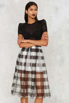 Kendall + Kylie Gingham Style Silk Skirt - What's New