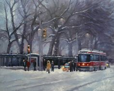 """Daily Paintworks - """"Urban Forest in winter, Queen Street, Toronto"""" - Original Fine Art for Sale - © Catherine Jeffrey Photo To Oil Painting, Light Painting, Texture Painting, Queen Street Toronto, Bus Art, Paintings Famous, Oil Paintings, Canadian Art, Night City"""