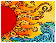 "Fine Art Painting Original ""Etu"" Sun Painting by Shadi Desjardins Sun Painting, Painting Prints, Art Prints, Art Soleil, Wal Art, Grafiti, Galerie D'art, Surf Art, Mexican Folk Art"