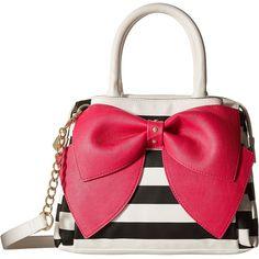 Betsey Johnson Ready Set Bow Satchel (Stripe Fuchsia) Satchel Handbags ($60) ❤ liked on Polyvore featuring bags, handbags, mahogany, chain strap purse, betsey johnson purses, vegan handbags, bow handbag and white handbags