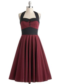 Budding Starlet Dress in Dots. Singing at venues across the country, youll need a look thats as bold as your vocals - don this dress, and your performance will be unforgettable! #red #modcloth