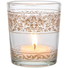Painted Glass Candle Holder (3.25-Inch, Clear, Banded Design) - For... ($5) ❤ liked on Polyvore featuring home, home decor, candles & candleholders, glass tea lights, glass candle stick holders, glass tealight, colored tea lights and glass tealight candle holders