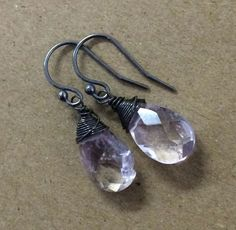 Min Favorit Rustic Amethyst Briolette & Oxidized Sterling Silver Earrings NEW!! #minfavorit #Wrap $14.95