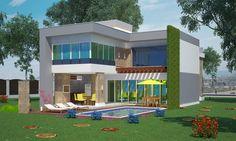 Sobrado Alphaville - com 3 quartos sendo 2 suites, 2 garagens e piscina - Plantas de Casas