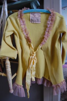 Golden Cashmere Sweater Luxury Womens Clothing Wool Cardigan Shabby Chic Altered High End Vintage Ribbon Pink Tulle Small Medium. $74.50, via Etsy.