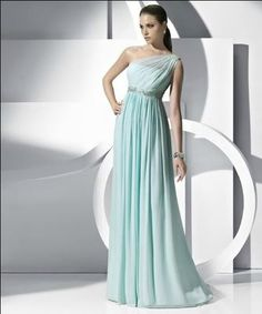 A-line Floor-length Chiffon One-shoulder Beading Evening Gowns Dresses - Special Occasion Dresses By AndyBridal Wedding Dresses Wedding Bridesmaid Dresses, Prom Dresses, Formal Dresses, Dress Prom, Blue Bridesmaids, Dress Wedding, Bridal Dresses, Strapless Dress, Mode Glamour