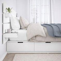NORDLI bed frame with headboard and shelf - white - IKEA Austria White Headboard, Wood Headboard, White Bedding, Bedding Sets, Bed With Headboard, Queen Bedding, Queen Bedroom, Master Bedroom, Bed Frame With Storage
