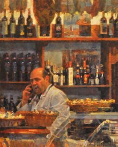 """Wineseller No. 3 by James Crandall Oil ~ 30"""" x 24"""""""