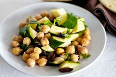 Quick to make and simply beautiful to behold, this Mediterranean-style salad is made with tasty mix of chickpeas, zucchini and kalamata olives.