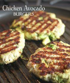 Chicken Avocado Burgers - Lightly mix GROUND CHICKEN avocado chunks bread crumbs garlic and salt/pepper throw on grill.