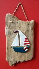 Character Dorset Driftwood and Ceramic Boat Wall Hanging Plaque Shabby Chic