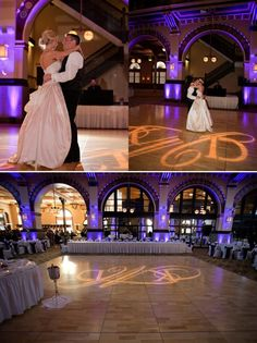 An overcast of purple lighting makes this wedding reception simply elegant.
