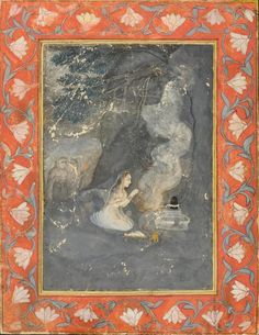A MINIATURE PAINTING OF BHAIRAVI RAGINI AT NIGHT. Pigments and gld on paper, India, Mughal school, 18th/19th century